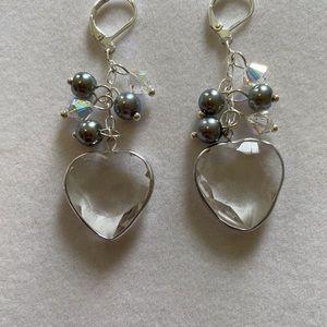 Framed Heart Earrings, NWT and Handmade